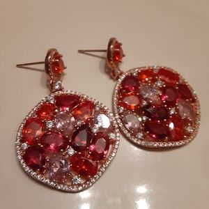 Stunning .925 Gold Plated Rose Red CZ Earrings